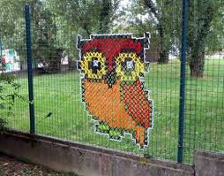 My Owl Barn Cross Stitch Murals On Chain Link Fences