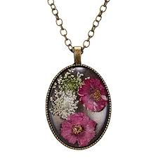 dried pressed real flower necklace