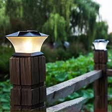 Mobestech 1 Pc Solar Powered Post Cap Lights Outdoor Ip65 Waterproof Wood Cap Pillar Lamp Fence Landscape Light For Patio Garden Yard Amazon Co Uk Lighting