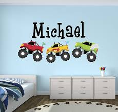 Personalized Trucks Name Wall Decal Baby Boy Room Decor Nursery Wall Decals Trucks Art Vinyl Sticker Baby B01msawvs6 Id Asin