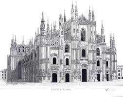Pen and pencil drawing of the famous Duomo di Milano (Milan, Italy ...