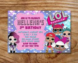 Surprise Dolls Birthday Invitations Custom Invitations Etsy Con