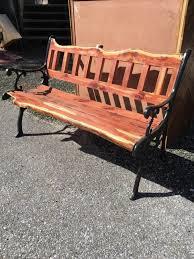 Live Edge Cedar Iron Bench Sarasota Architectural Salvage 1093 Central Ave Sarasota Fl 34236