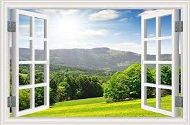 Amazon Com 3d Fake Window Beautiful View Of Rural Alpine Landscape Sunny Hills Under Cloudy Sky Home Kitchen