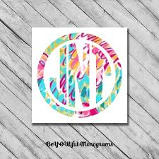 Monogram Decal Lilly Vinyl Sticker Personalized Monogramed Etsy In 2020 Monogram Decal Monogram Vinyl Decal Vinyl Sticker