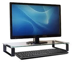 monitor riser black tempered glass