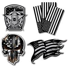 Amazon Com Variety Pack Of Thin Silver Line Corrections Officer Co Prison Decal Vinyl Sticker American Flag Car Truck 6 Pack Automotive