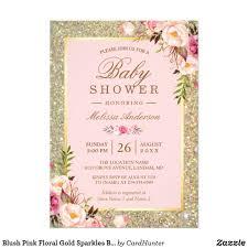 Blush Pink Floral Gold Sparkles Baby Shower Invitation Zazzle