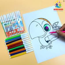Bút Dạ 12 Màu Tô Vẽ Hình Con Vẹt Cho Bé Tập Làm Họa Sỹ Đồ Chơi Giáo Dục  Benrikids