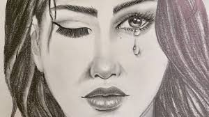 كيفية رسم فتاة تبكي فتاة تدمع فتاه حزينة رسم بالقلم الرصاص