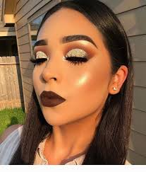 gold glitter and perfect makeup