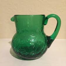 small green le glass pitcher