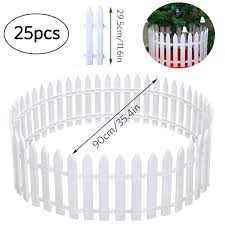 White Plastic Picket Fence Miniature Home Garden Christmas Xmas Tree Wedding Party Decoration Wish
