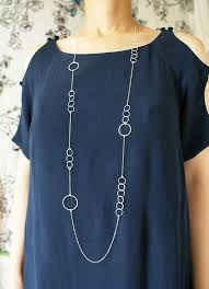 silver circles long necklace sterling