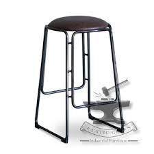 iron and leather fixed bar stool