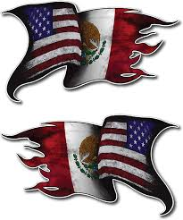 Amazon Com Pack Of 2 Usa American Mexico Mexican Pride Country Flag Window Decal Bumper Sticker Car Truck Suv Arts Crafts Sewing