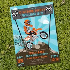 Dirt Bike Party Invitation Motorbike Party Motocross Party