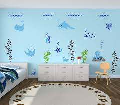 Amazon Com Under The Sea Decorations Wall Decals Vinyl Decor For Birthday Party Kids Room Playroom Nursery Underwater Scene With Turtles Dolphins Starfish Octopus Seahorse Fish Whale Stingray Handmade