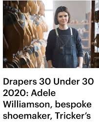 We are extremely delighted and excited to see Adele Williamson, Tricker's  first female bespoke shoemaker in our 191 year history, listed in Drapers'  '30 under 30'. This list recognises top young individuals