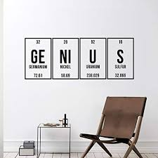Amazon Com Vinyl Wall Art Decal Genius 12 X 32 Trendy Cute Funny Chemistry Quote Sticker For School Classroom Office Living Room Playroom Coffee Shop Decor Arts Crafts Sewing