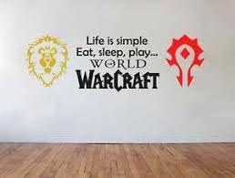 Life Is Simple World Of Warcraft Horde Alliance Vinyl Wall Sticker Art Decal Sticker Wall Art Vinyl Wall Stickers Wall Sticker