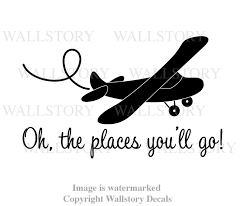 Kid S Room Wall Decal Oh The Places You Will Go Big Airplane Boy S Room Vinyl Wall Letters Aviation Pilot Plane Theme Nursery Art