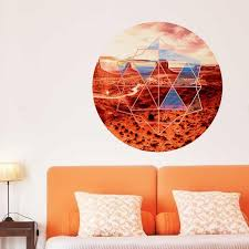 Geometric Desert View Wall Decal Red Desert Scene Wall Decal Etsy
