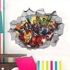 Amazon Com Evelynsemple Super Hero 3d Broken Hole Wall Stickers For Boys Room Home Decoration Ir On Man Av Engers Mural Art Kids Wall Decal Movie Posters Home Kitchen