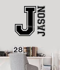 Sport Monogram Varsity Letter Name Initial Wall Decal Custom Name Personalized Vinyl Sticker For Kids Room Nursery Mural Ea886 Wall Stickers Aliexpress