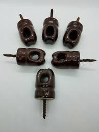 Lot Of 6 Vintage Brown Porcelain Ceramic Electric Fence Screw Insulators 3 Ebay