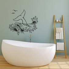 Vinyl Wall Decal Sea Style Whale Tail Ocean Animal Waves Stickers 413 Wallstickers4you