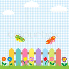 Colorful Fence With Flowers And Stock Vector Colourbox