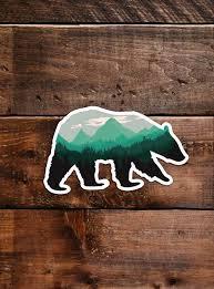 Black Bear Sticker Waterproof Vinyl For Laptop Car Window Cooler B Hikeanddraw