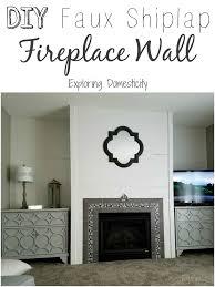 diy faux shiplap fireplace wall