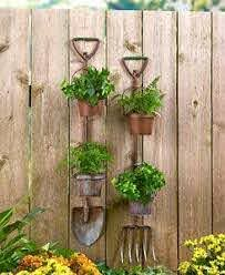 Rustic Metal Shovel Pitchfork Garden Tool Hanging Planters 2 Flower Pots Fence Ebay