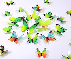 Kakuu 36pcs Butterfly Wall Decals 3d Butterflies Stickers Removable Mural Decor Home Kids Room Bedroom Living Decor Green Educational Toys Planet