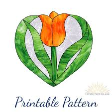 stained glass pattern heart shaped