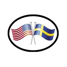 American Swedish Flags Vinyl Car Decal Scandinavian North