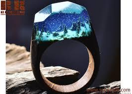 fashion wood resin ring handmade jewelry