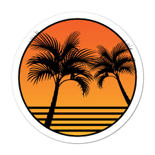 Palm Tree Sunset Beach Sand Summer Holiday Good Vibes Car Sticker Decal Ebay