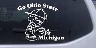 Amazon Com Rad Dezigns Go Ohio State Pee On Michigan Car Window Wall Laptop Decal Sticker White 3in X 3 7in Automotive