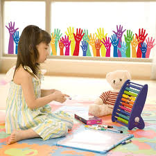 Colorful Kids Hands Baseboard Wall Sticker Teacherfanatics Com
