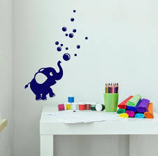 Vinyl Wall Decal Cartoon Baby Elephant Bubble Blower Stickers 2801ig Wallstickers4you
