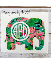 Amazing Savings On Lilly Pulitzer Elephant Monogram Decal Car Yeti Laptop Tumbler Decal