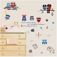 Wsqyf Pirate Owl Wall Sticker Baby Children S Room Bedroom Musical Notes Navigation Decorate Diy Vinyl Decal Home Decor 50x70cm Educational Toys Planet
