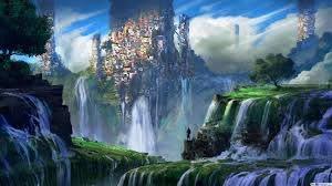 Descargar fondo de pantalla Ciudad de la fantasía de la cascada HD