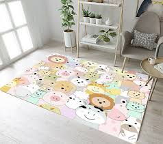 Cute Cartoon Animals Kids Play Area Rugs Living Room Floor Mat Yoga Soft Carpet Ebay