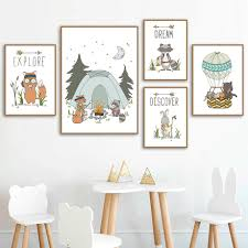 Fox Bear Rabbit Tent Arrow Nursery Wall Art Canvas Painting Cartoon Nordic Posters And Prints Wall Pictures Baby Kids Room Decor Painting Calligraphy Aliexpress