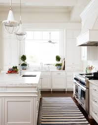 white striped runner in front of stove