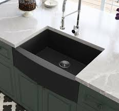 black farmhouse sink granite composite